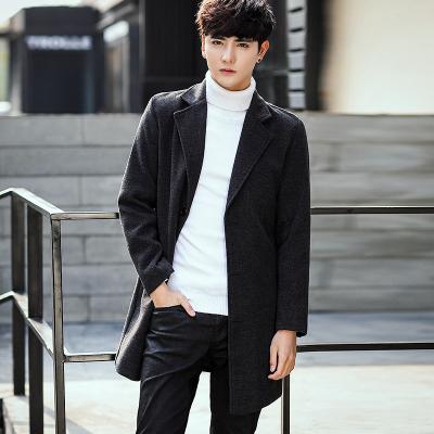 Men's Long Section Windbreaker Slim-Type Coat Woolen Coat