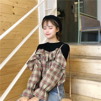 Women Korean Loose Stitching Lattice Long-sleeved Flounce Shirt