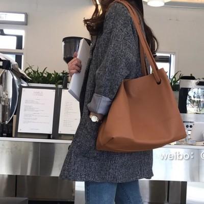Women Korea Large-capacity Brown Soft Handbag Shoulder Bag