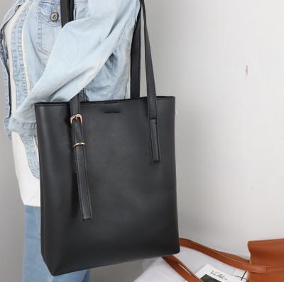 Women Soft Leather Belt Design Shoulder Tote Bag