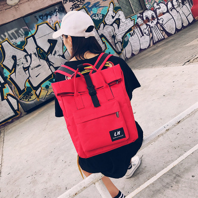 Women Korean College Canvas High-capacity Backpack Student Laptop Bag