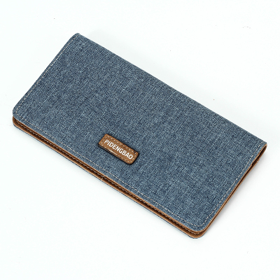 Men Canvas Long Super Thin Multi-card Wallet