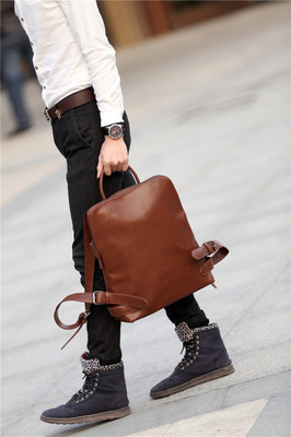 Men Retro Student Classic PU Leather Backpack