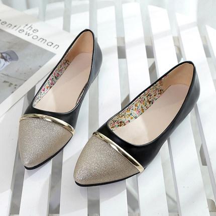 Women Flat Comfortable Shallow Shining Working Shoes