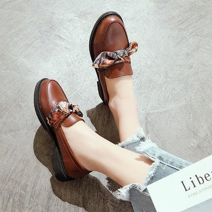 Women England College Round Retro Ribbon Shoes