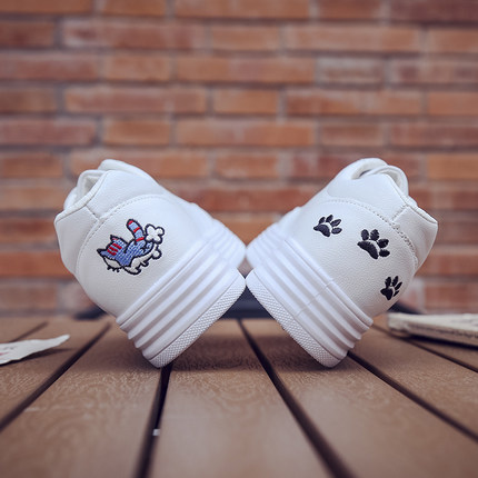 Women Flat-bottomed Cute Kitty Cat Canvas Sneakers Shoes