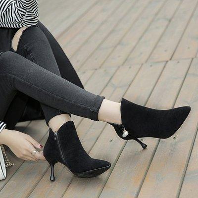 Women European Martin Pointed Suede High Heel Boots