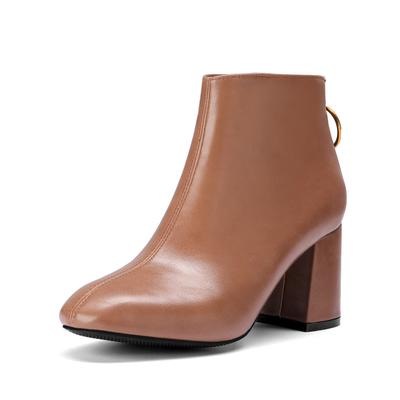 Women Korean Zipper Velvet PU Leather Short Boots