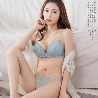 Women No Rims Sexy Lace Japanese Thickened Gather Bra Set
