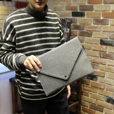 Men Grey Trendy Clutch Handbag Envelope A4 File Bag