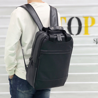 Men PU Leather Large Portable 17-inch Computer Backpack Bag