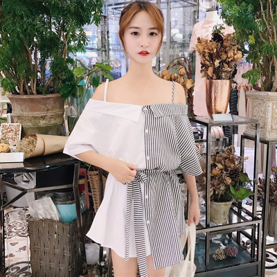 Women Korean Sexy Open-collar Color Strap Short-sleeved Striped Dress