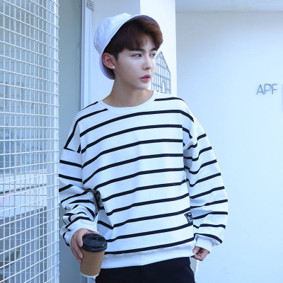 Men's Long Sleeve Round Neck Korean Striped Shirt