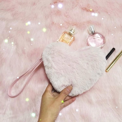 Women Plush Girl Pink Heart Lovely Love Clutch Purse