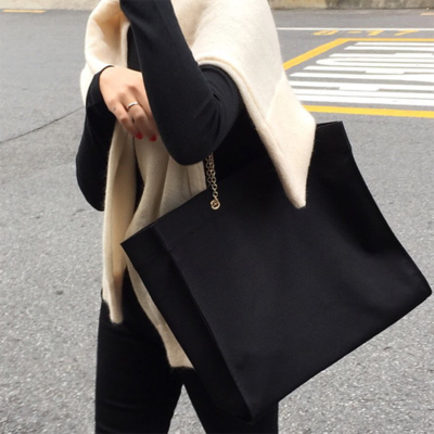 Women Korea Metal Chain Simple Retro Big Capacity Shoulder Bag