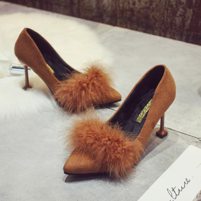 Women Suede Pointed Shallow Mouth Furry High Heels