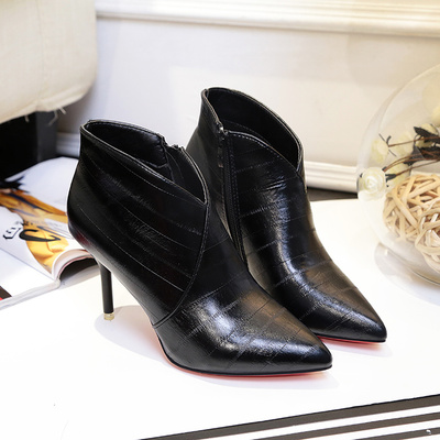 Women Simple PU Leather Zipped High-heeled Ankle Zipper Boots