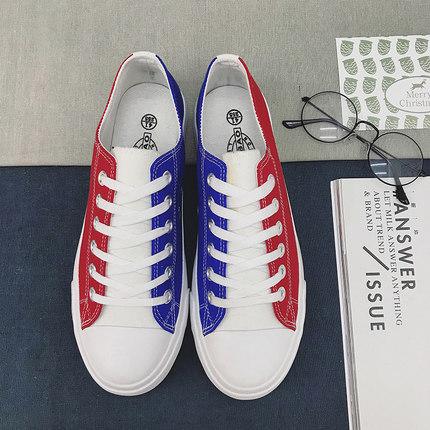 Men Korean Canvas Mixed Color Lacing Up Low Top Shoes