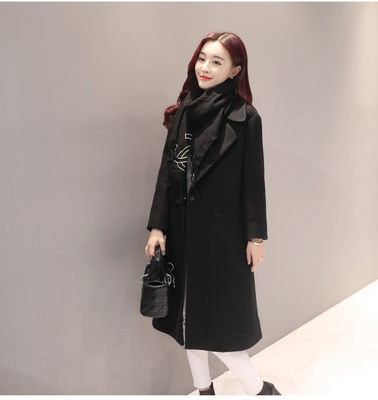 Women England Plain Windbreaker Woolen Long Jacket Coat