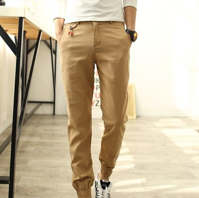 Men's Casual Elastic Rubber Trousers Long Pants