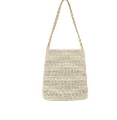 Women Leisure Woven Shoulder Bucket Big Capacity Bag