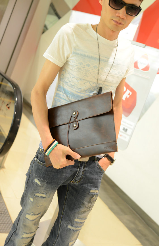 Men Retro Business Casual Holding Envelope Hand Bag