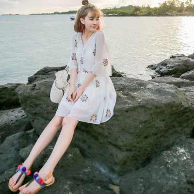Women Thai Embroidery Floral Chiffon Beach Seaside Dress