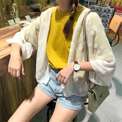 Women Embroidery Cropped Sunscreen Chiffon Cardigan Jacket