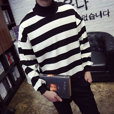 Men's Cashmere Turtleneck Loose Striped T-Shirt Sweater