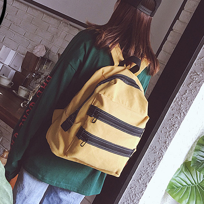 Women Canvas Retro Large-capacity Student Zipper Backpack