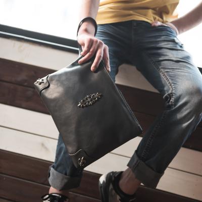Men Punk Package Envelope Clutch A4 File PU Leather Handbag