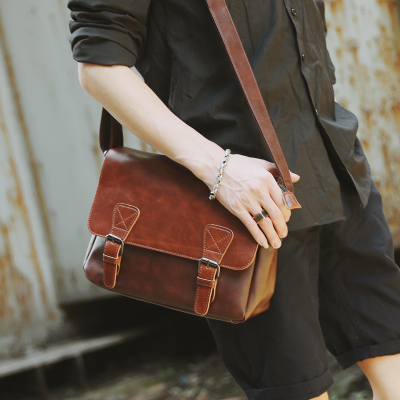 Men Retro Flip PU Leather Pocket iPad Sling Bag