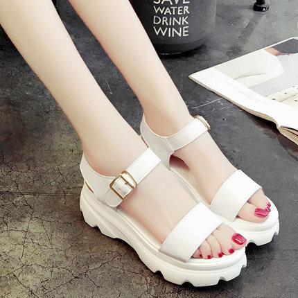 Women Roman Sponge Platform Buckle Sandals