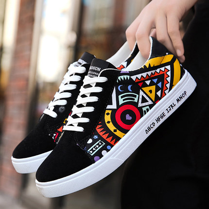 a3a0fa2955ff7 [READY STOCK / PRE-ORDER] Men Creative Graffiti Graphic Printing Canvas  Shoes