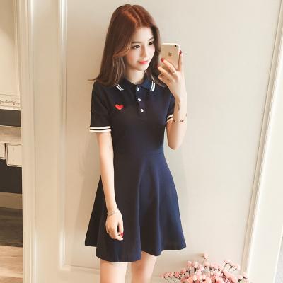 Women Love Embroidery Short-sleeved Polo Collar T-shirt Dress