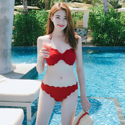 Women Korean Swimwear Bikini Lace Ribbon Swimsuit