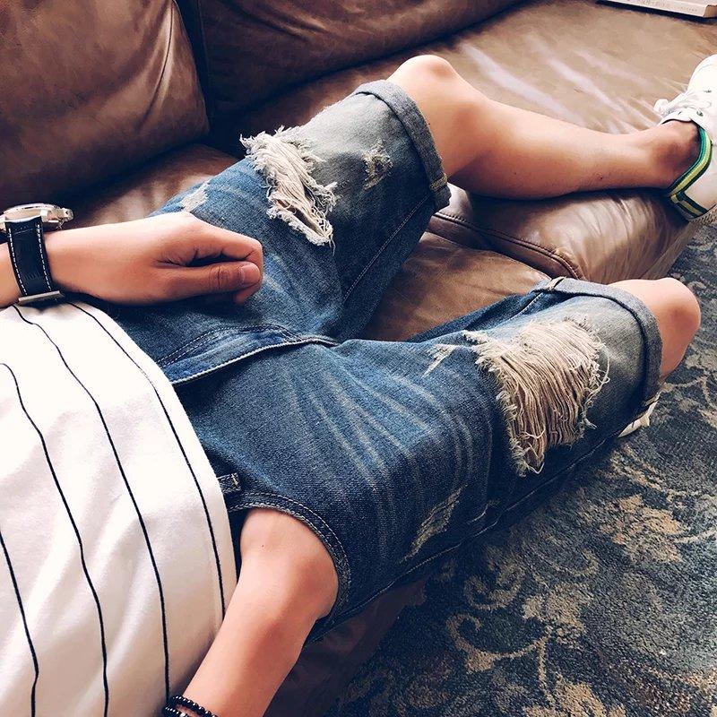 Men's Slim-Fit Cutoff Ripped Jeans Denim Shorts Korean Style