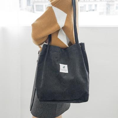 Women Korean Corduroy Two Snap Buckle Tote Shoulder Bag