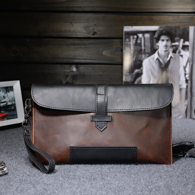 Men High Quality Crazy Horse Leather Envelope Clutch Hand Bag