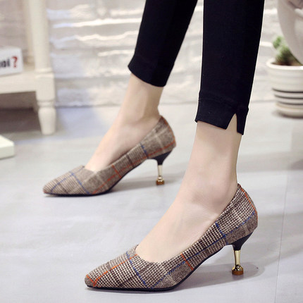 Women Mid-heeled Shallow Mouth Houndstooth Office Working High Heels