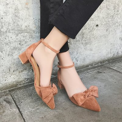 Women Suede Bow Ribbon Pointed Buckle High Heels Sandals