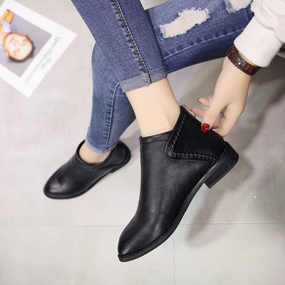 Women British PU Leather Classic Design Ankle Short Boots