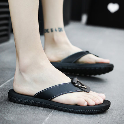 Men Plus Size Flip-Flops Casual PU Leather Slippers Sandals