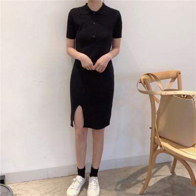 Women Polo Collar Long Knit Side Slit Dress