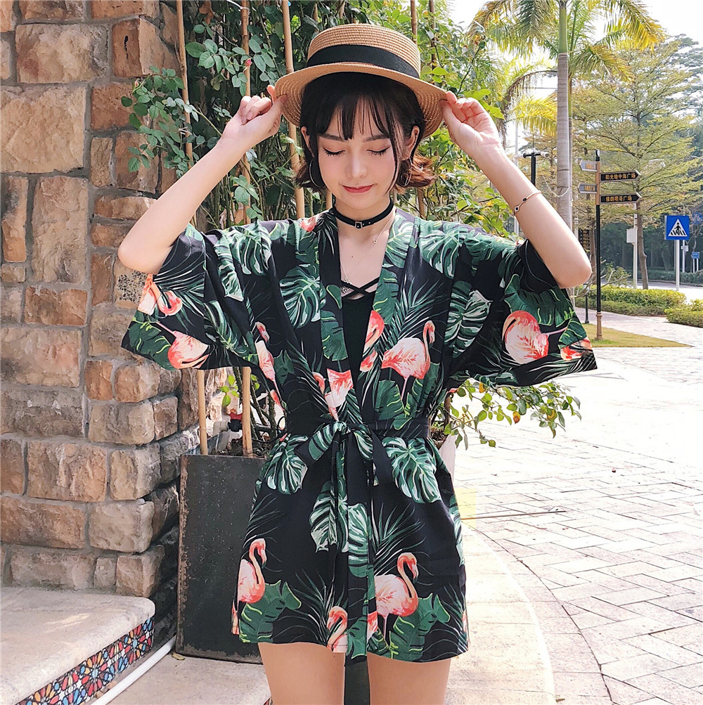 Snow Fashion Shop New Arrival Kate Spade Small Rachelle Brightwater Drive Spring Bloom Green Hijau Women Loose Printed Summer Lace Tie Kimono