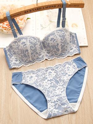 Women Detachable Double Shoulder Strap Lace Lingerie Set