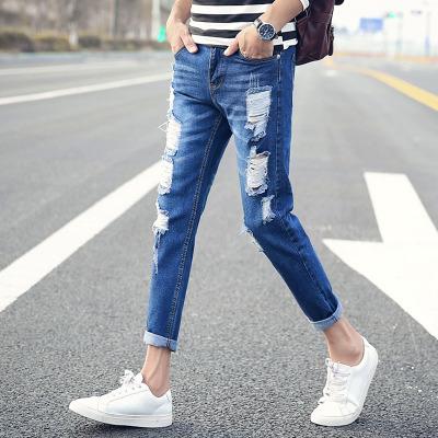 Men's Slim-Fit Cutoff Ripped Jeans Denim Pants