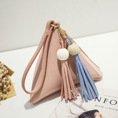 Women Cute Triangle Pouch Clutch With Tassel Handbag