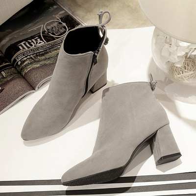 Women Suede Pointed Side Zipper Back Tie Ankle Boots