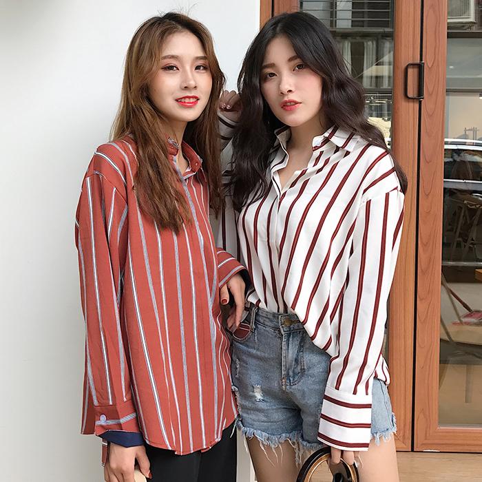 Women Long Sleeved Stripe Collared Polo Shirt Blouse